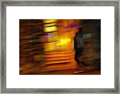 Rain. City Lights. Impressionism. Tnm Framed Print by Jenny Rainbow