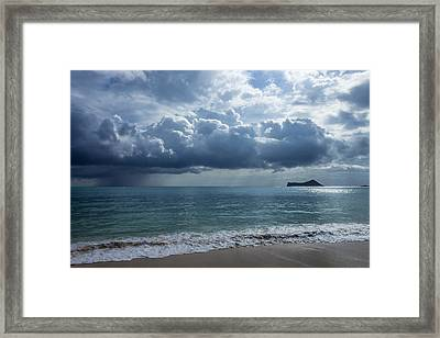 Rain Clouds At Waimanalo Framed Print