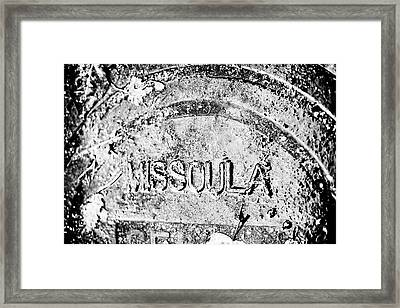 Rain Covered Manhole Cover In Missoula Framed Print by James White