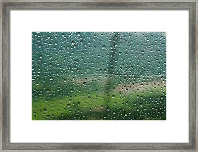 Rain Drops On A Cable Car Going Framed Print by Rona Schwarz