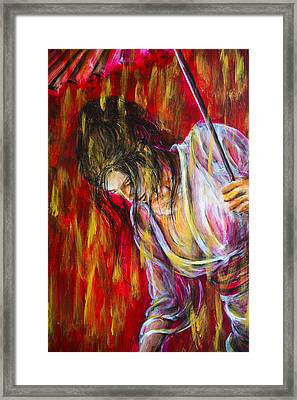 Framed Print featuring the painting Rain Geisha Red by Nik Helbig