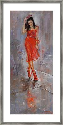 Rain In Manhattan Framed Print by Ylli Haruni