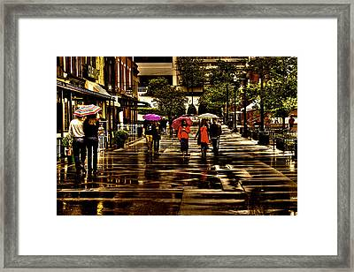 Rain In Market Square - Knoxville Tennessee Framed Print by David Patterson