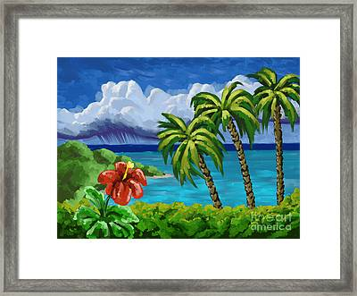 Framed Print featuring the painting Rain In The Islands by Tim Gilliland