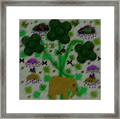 Rain In The Poker Forest Framed Print