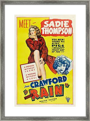 Rain, Joan Crawford On Poster Art, 1932 Framed Print by Everett