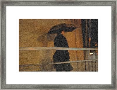 Rain. Lady In Black. Impressionism Framed Print by Jenny Rainbow