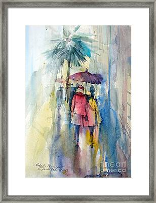 Rain Framed Print by Natalia Eremeyeva Duarte
