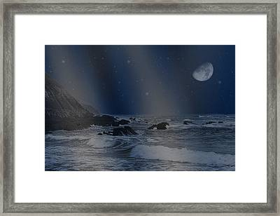 Rain Of Stars On The Sea  Framed Print