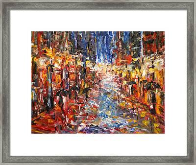 Rain On 5th Ave Framed Print