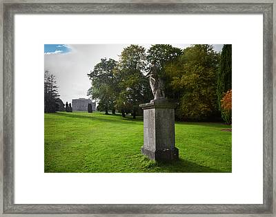 Rain On A Sculpture In The Gardens Framed Print