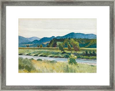 Rain On River Framed Print