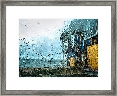 Rain On Rowing Club House Framed Print by Glenn Feron