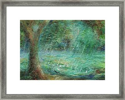 Framed Print featuring the painting Rain On The Pond by Mary Wolf