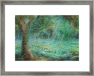 Rain On The Pond Framed Print