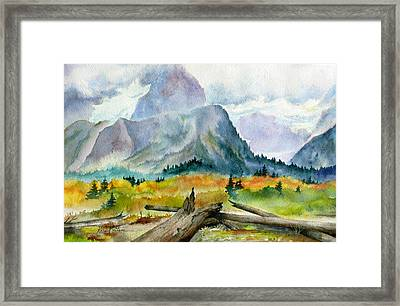 Rain On The Twenty Mile River Framed Print by Karen Mattson