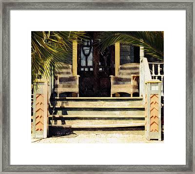 Framed Print featuring the photograph Rain On The Veranda by Allen Beilschmidt