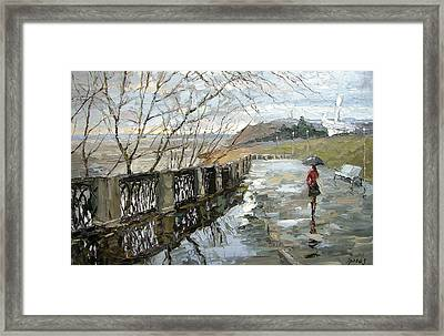 Rain On The Waterfront Framed Print