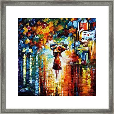 Rain Princess - Palette Knife Figure Oil Painting On Canvas By Leonid Afremov Framed Print