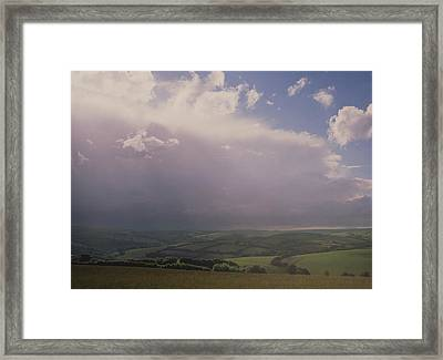 Rain Storm Over Exmoor Framed Print by Tony Craddock/science Photo Library