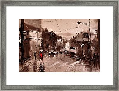 Rain Framed Print by Timorinelt Tryptykieu
