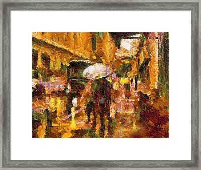 Rain Walk At Night Abstract Framed Print by Georgiana Romanovna
