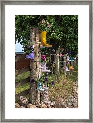 Rainboots Flowerpots Framed Print by Iris Richardson