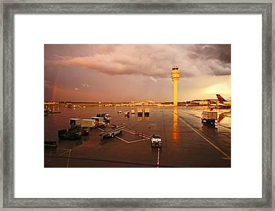 Rainbow And Airport  Framed Print by Chikako Hashimoto Lichnowsky