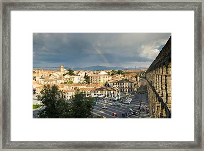 Rainbow And Ancient Aqueduct Framed Print by Viacheslav Savitskiy