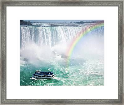 Rainbow And Tourist Boat At Niagara Falls Framed Print by Elena Elisseeva