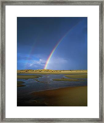 Rainbow Appears Over The Mouth Framed Print by Robert L. Potts
