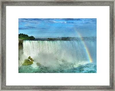 Rainbow At Niagara Framed Print by Mel Steinhauer