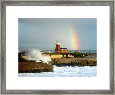 Rainbow At Santa Cruz Lighthouse Framed Print by Randy Straka