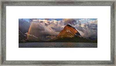 Rainbow At Sunrise - Panorama Framed Print by Mark Kiver