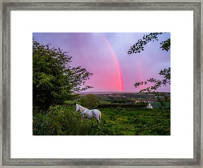 Rainbow At Sunset In County Clare Framed Print