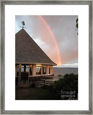 Rainbow At The Bath House Minister Island Nb Framed Print