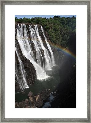 Rainbow At Victoria Falls Framed Print by Aidan Moran