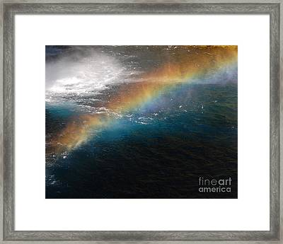Framed Print featuring the photograph Rainbow At Waterfall Base by Debra Thompson
