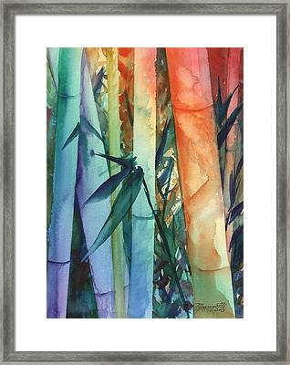 Framed Print featuring the painting Rainbow Bamboo 2 by Marionette Taboniar