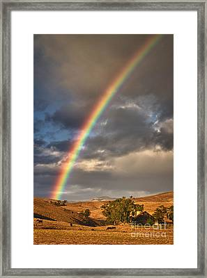 Rainbow Barn Framed Print by Alice Cahill