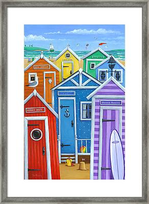 Rainbow Beach Huts Framed Print
