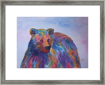 Rainbow Bear Framed Print by Ellen Levinson