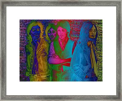 Rainbow Beatles Series Blue Jacket John Framed Print by Joan-Violet Stretch