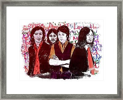 Rainbow Beatles Series Stressed Beatles Red Framed Print by Joan-Violet Stretch