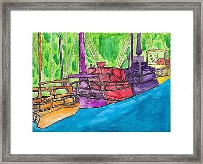 Framed Print featuring the painting Rainbow Boats by Artists With Autism Inc