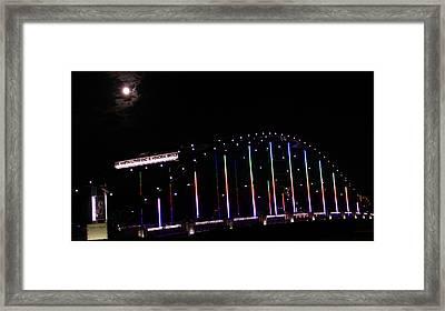 Rainbow Bridge And Super Moon Framed Print by Dan Sproul