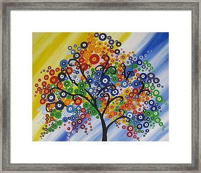 Rainbow Bubble Tree Framed Print