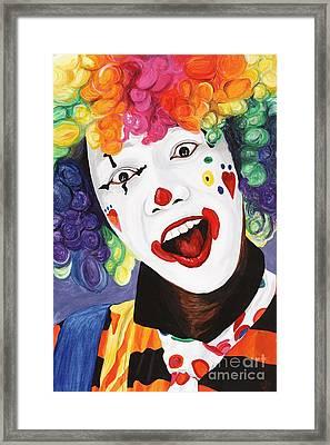 Rainbow Clown Framed Print by Patty Vicknair