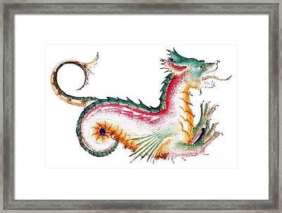 Rainbow Colored Dragon 15th Century Framed Print