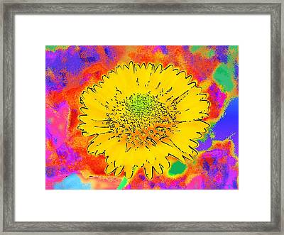 Framed Print featuring the painting Rainbow Colored Sunshine Flower- Because I'm Happy by David Mckinney